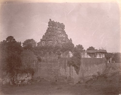 View from south-east corner of the first entrance gopura and enclosure wall of the Brihadishvara Temple, Thanjavur